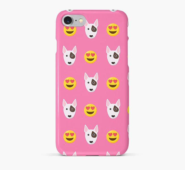 'Heart Eyes' Pattern Phone Case with Bull Terrier Icon