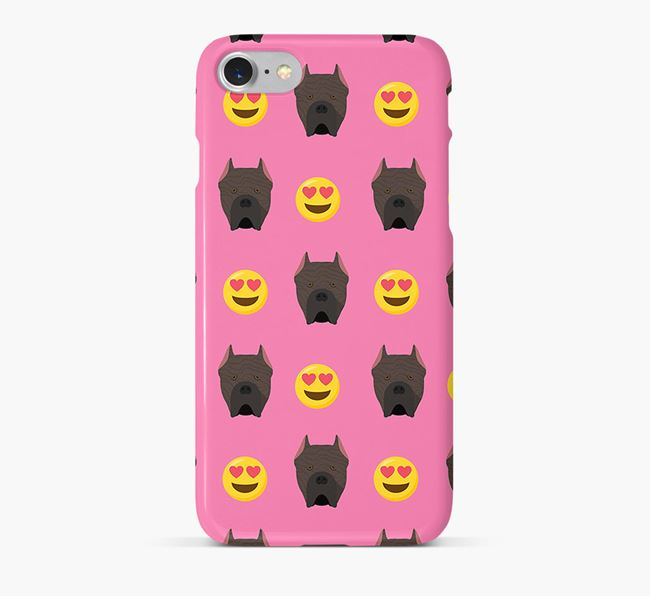 'Heart Eyes' Pattern Phone Case with Cane Corso Italiano Icon