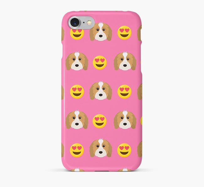 'Heart Eyes' Pattern Phone Case with Cavapoo Icon