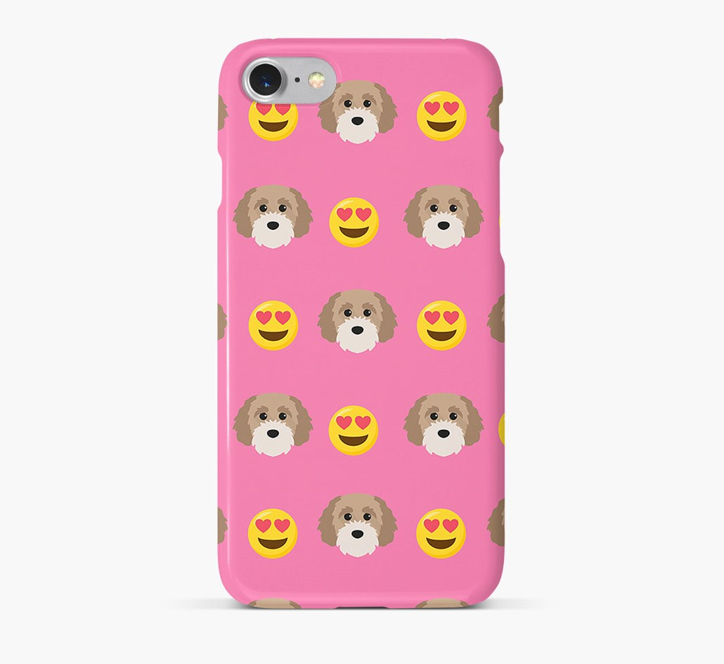 'Heart Eyes' Pattern Phone Case with Cavapoochon Icon