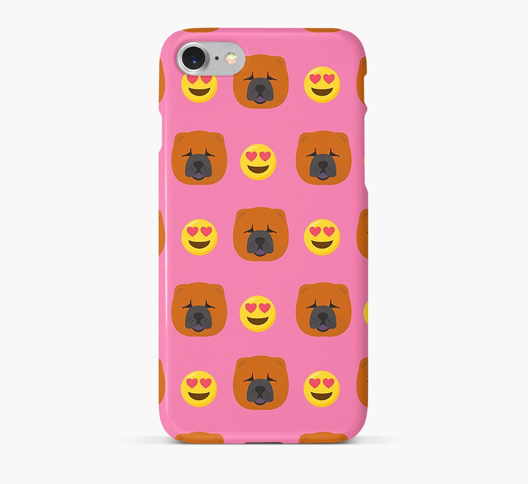 'Heart Eyes' Pattern Phone Case with Chow Chow Icon