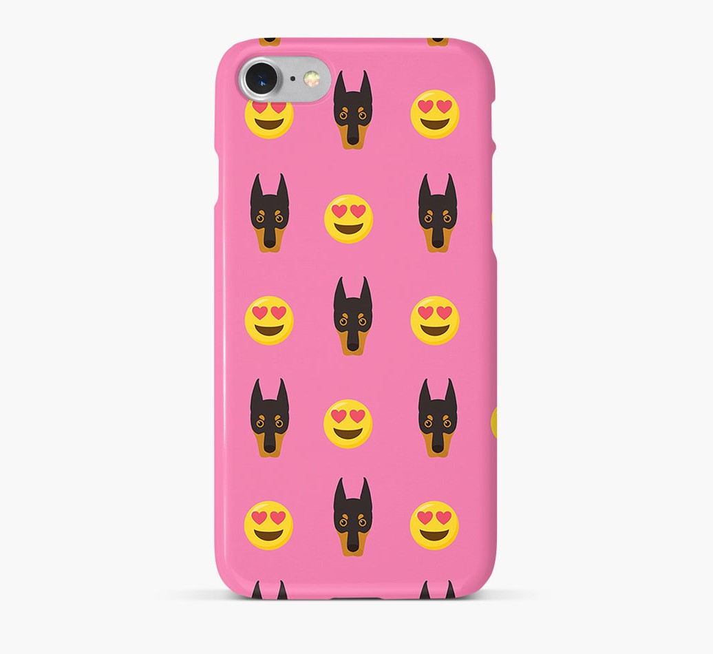 'Heart Eyes' Pattern Phone Case with Dobermann Icon
