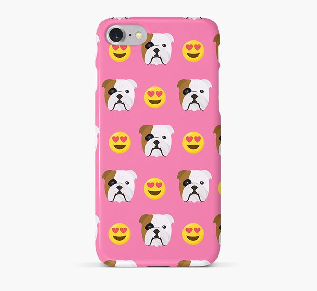 'Heart Eyes' Pattern Phone Case with English Bulldog Icon