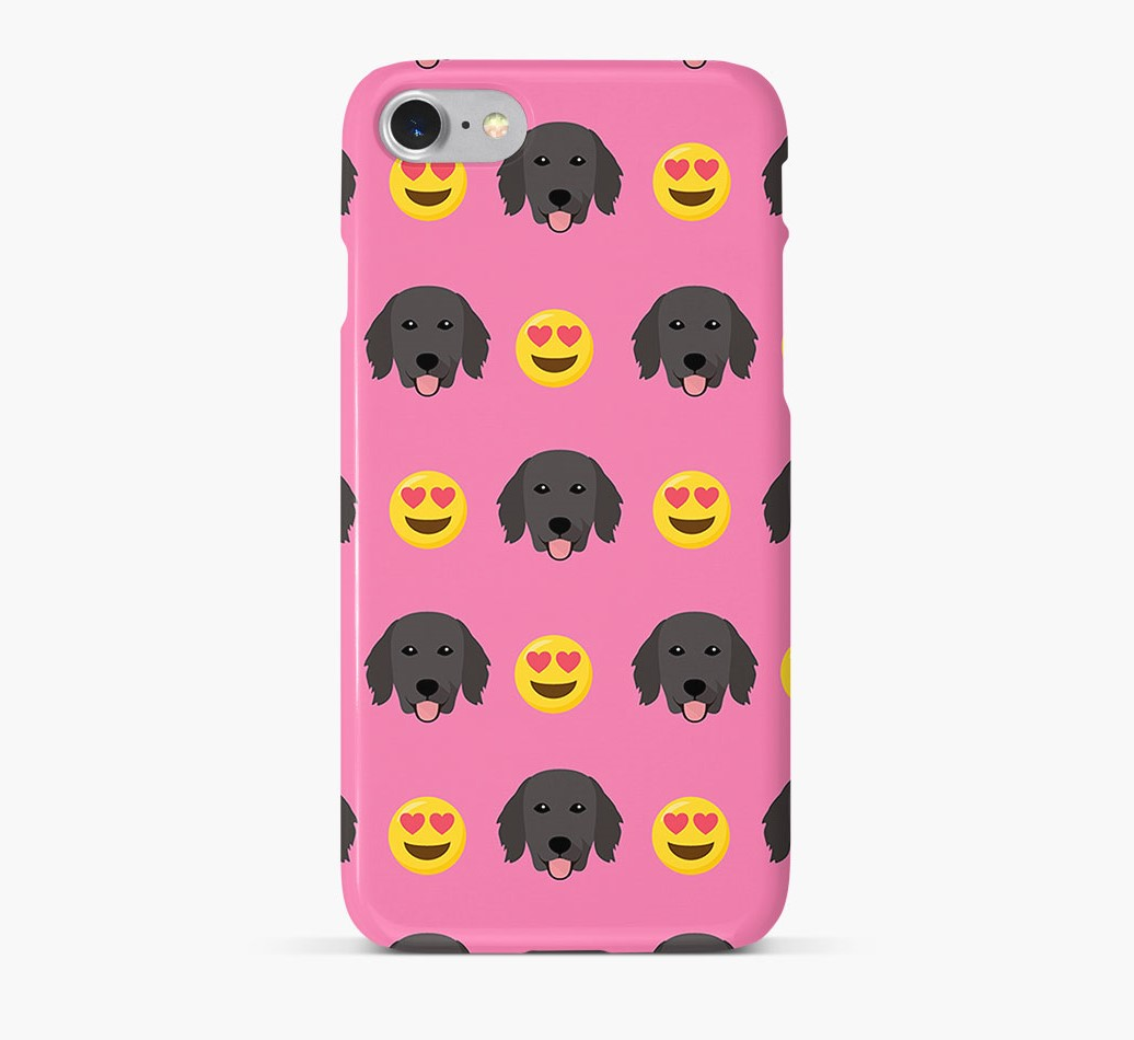 'Heart Eyes' Pattern Phone Case with Flat-Coated Retriever Icon