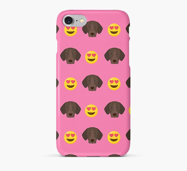 'Heart Eyes' Pattern Phone Case with German Shorthaired Pointer Icon