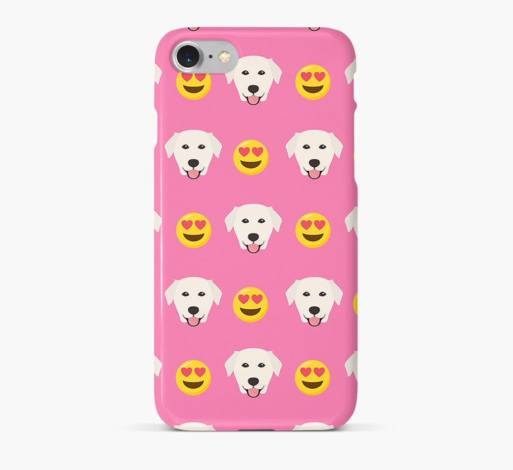 'Heart Eyes' Pattern Phone Case with Golden Labrador Icon