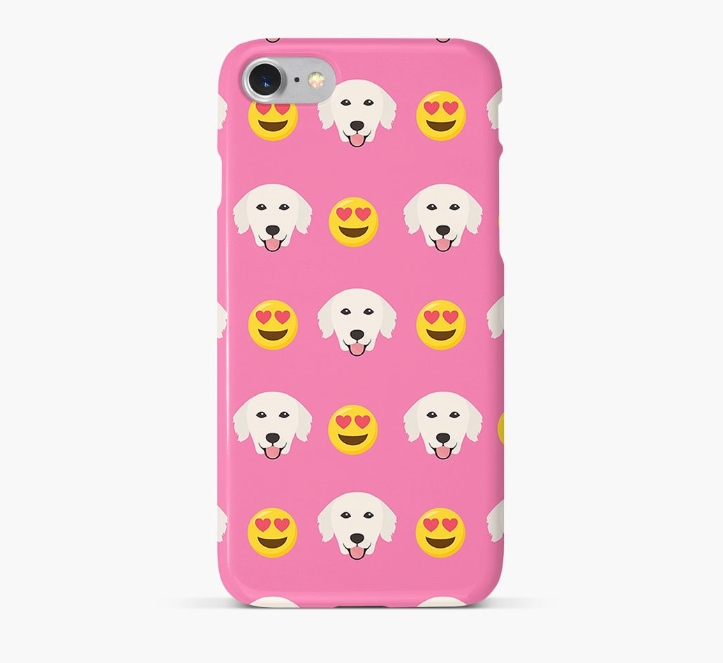 'Heart Eyes' Pattern Phone Case with Golden Retriever Icon