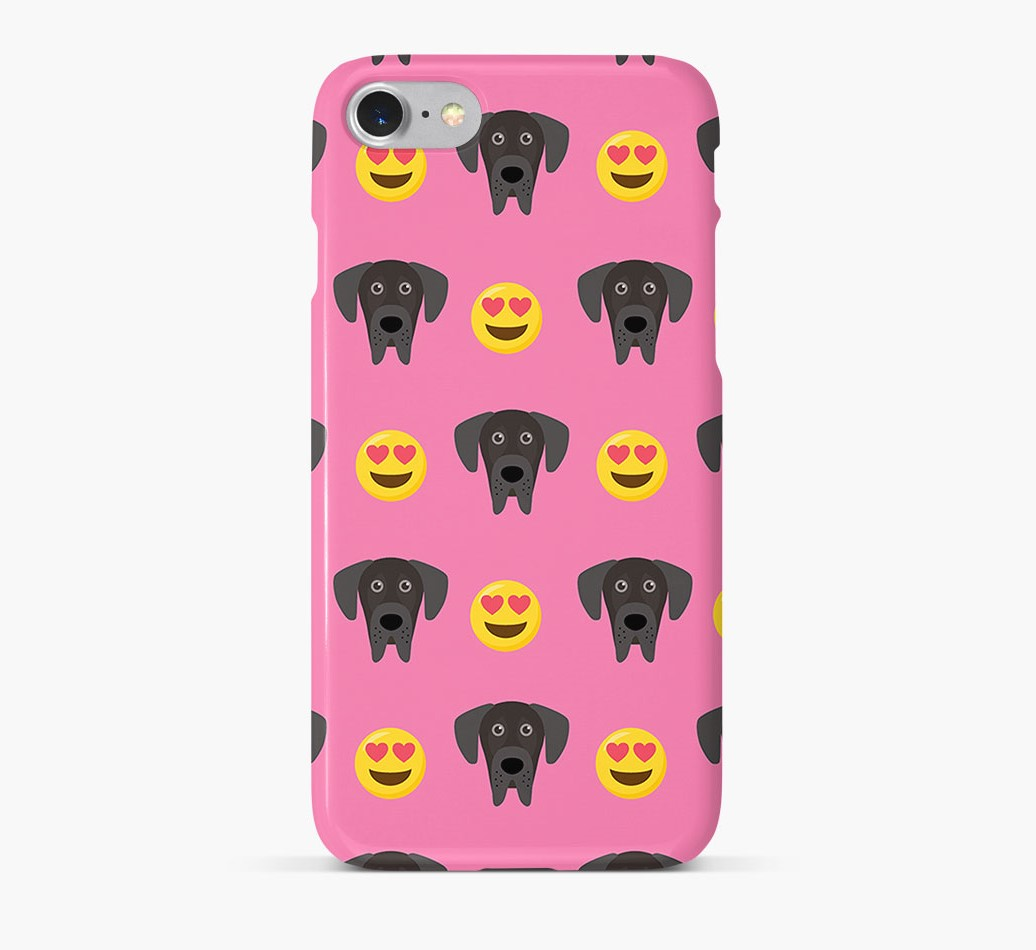 'Heart Eyes' Pattern Phone Case with Great Dane Icon