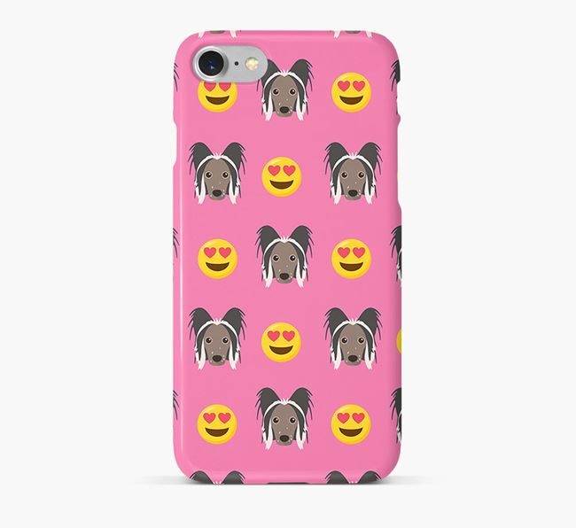 'Heart Eyes' Pattern Phone Case with Hairless Chinese Crested Icon
