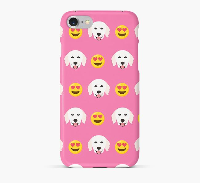'Heart Eyes' Pattern Phone Case with Hungarian Kuvasz Icon