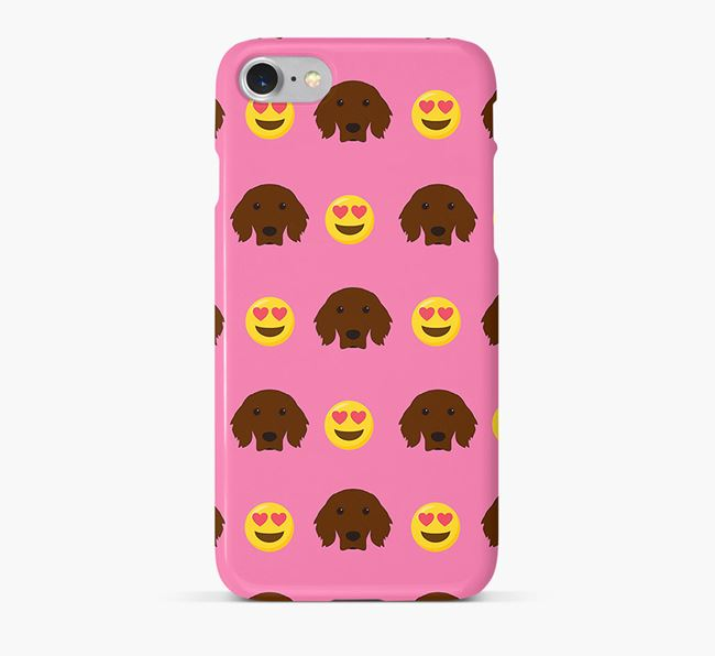 'Heart Eyes' Pattern Phone Case with Irish Setter Icon
