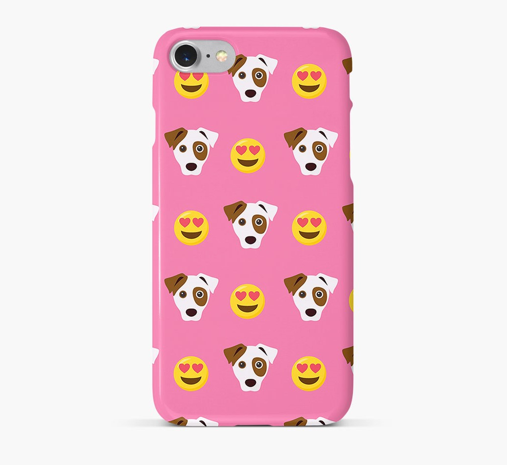 'Heart Eyes' Pattern Phone Case with Jack Russell Terrier Icon