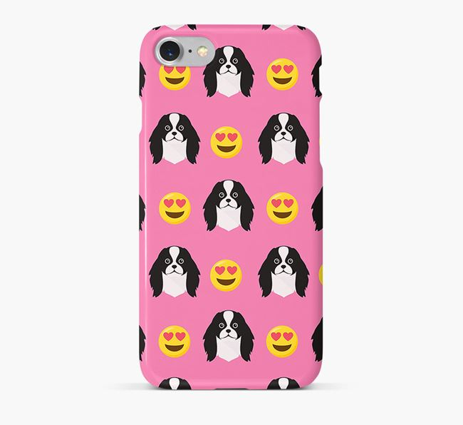 'Heart Eyes' Pattern Phone Case with Japanese Chin Icon