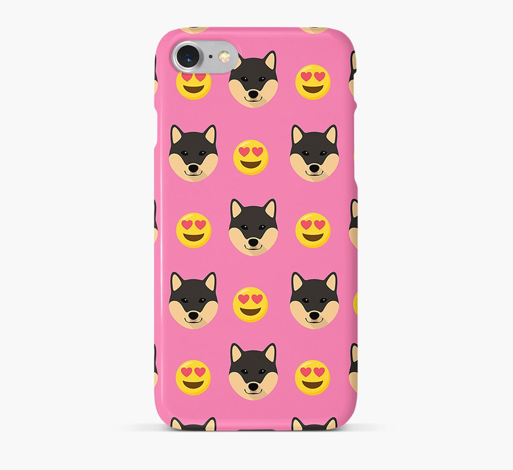'Heart Eyes' Pattern Phone Case with Japanese Shiba Icon