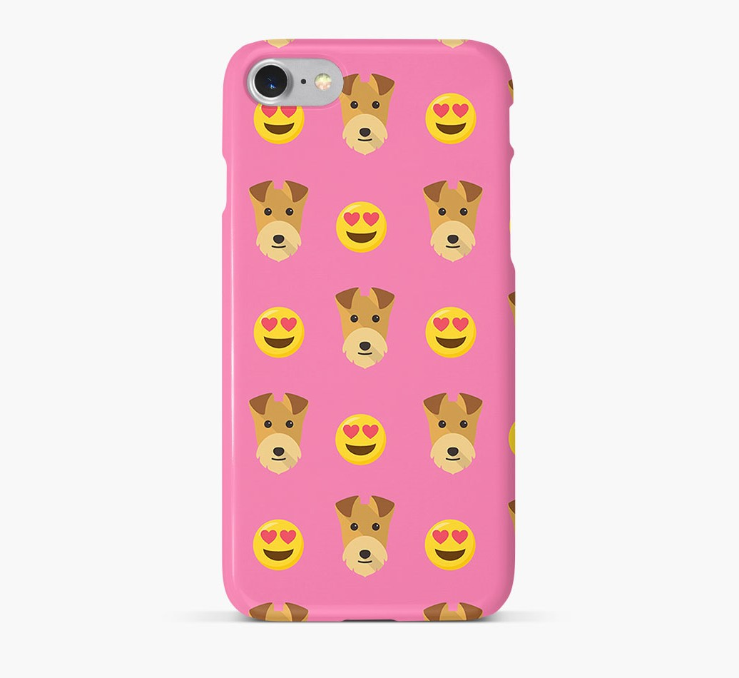 'Heart Eyes' Pattern Phone Case with Lakeland Terrier Icon