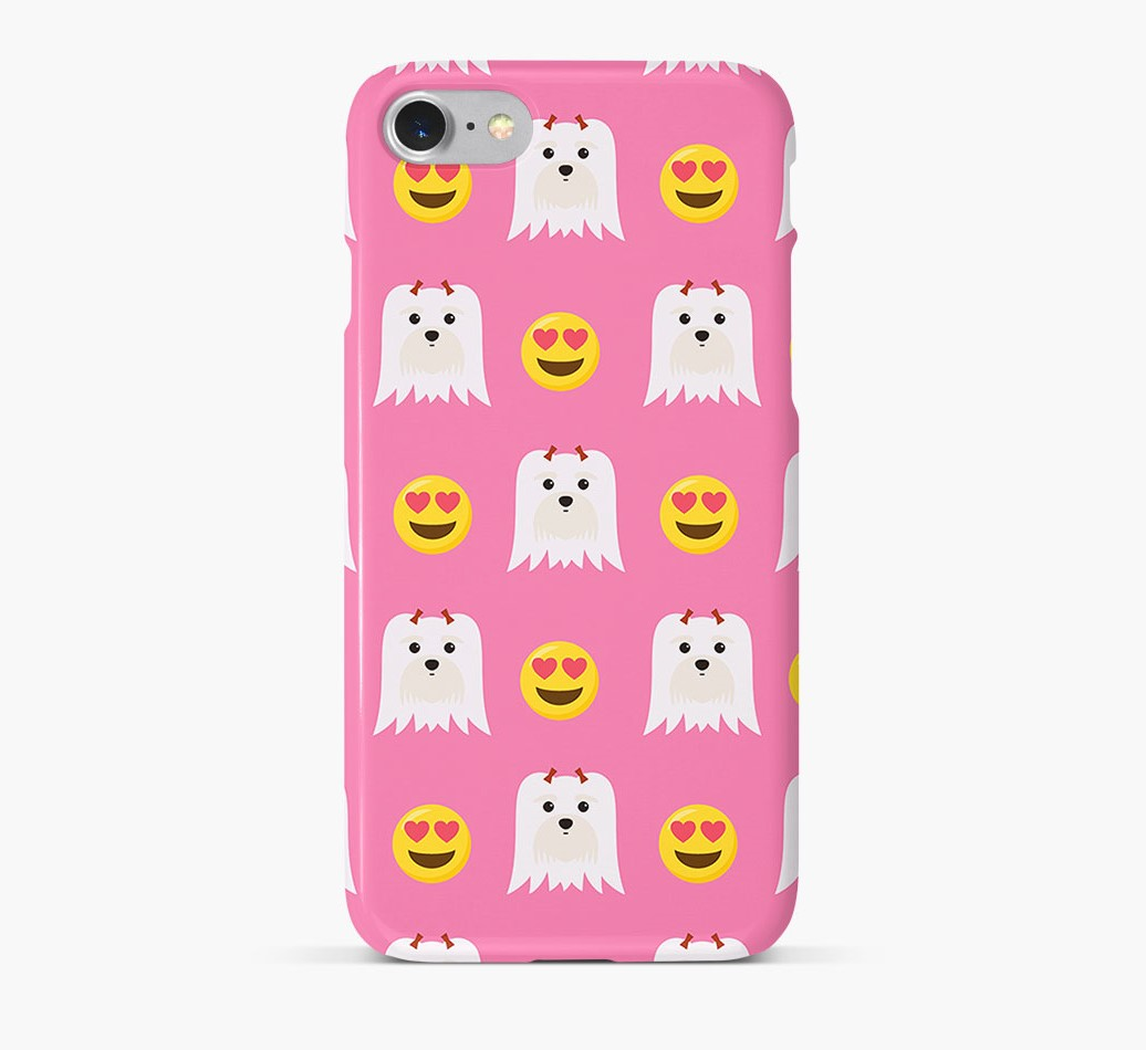 'Heart Eyes' Pattern Phone Case with Maltese Icon