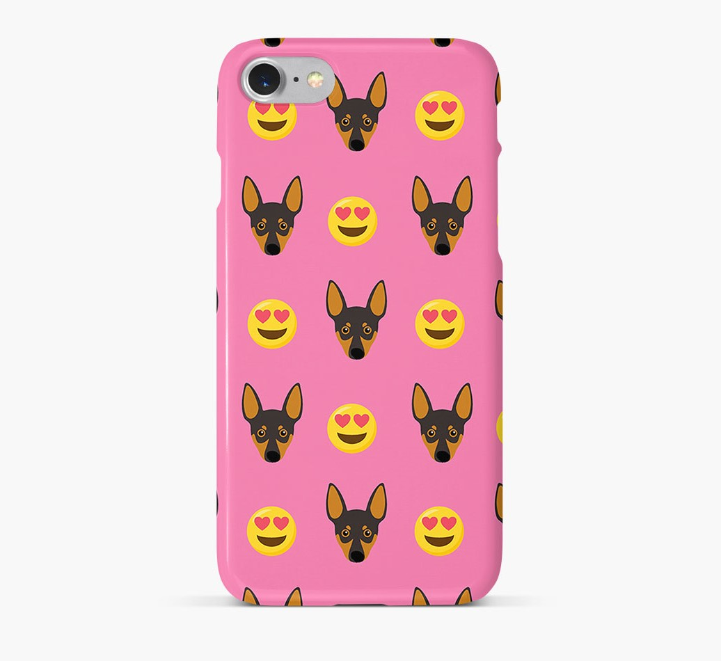 'Heart Eyes' Pattern Phone Case with Miniature Pinscher Icon