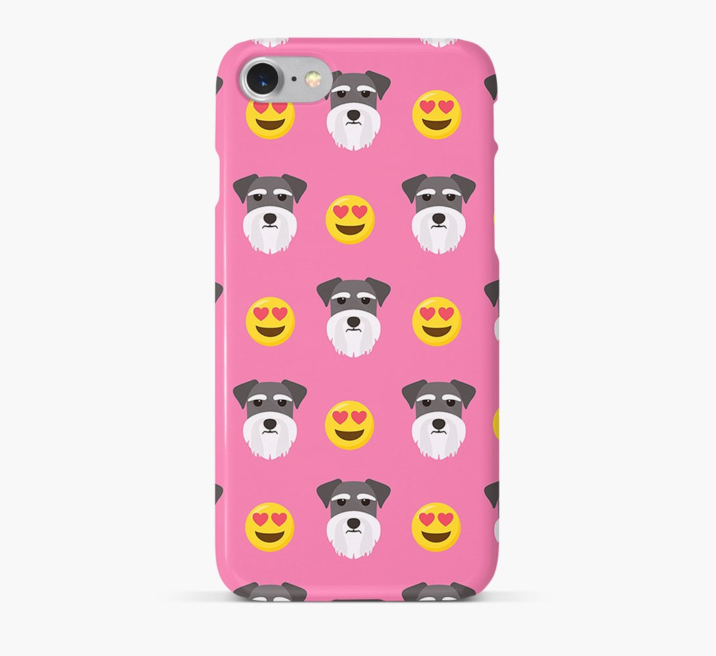 'Heart Eyes' Pattern Phone Case with Miniature Schnauzer Icon