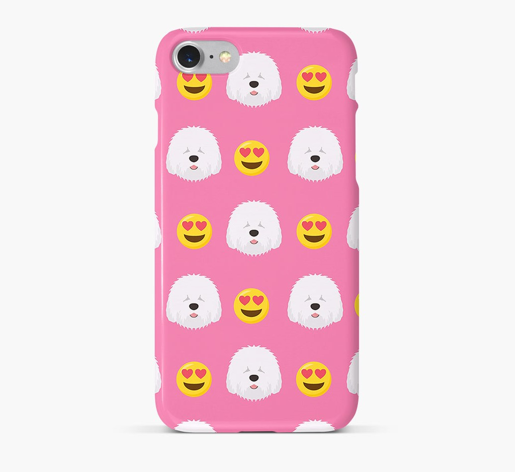 'Heart Eyes' Pattern Phone Case with Old English Sheepdog Icon