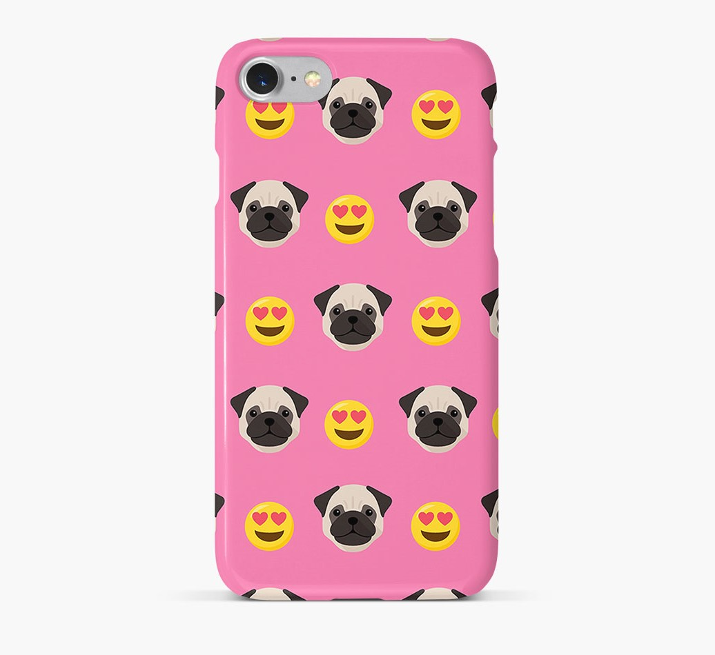 'Heart Eyes' Pattern Phone Case with Pug Icon