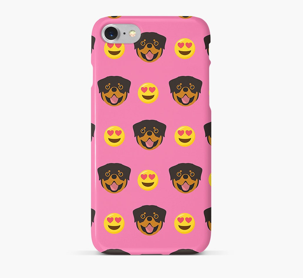 'Heart Eyes' Pattern Phone Case with Rottweiler Icon
