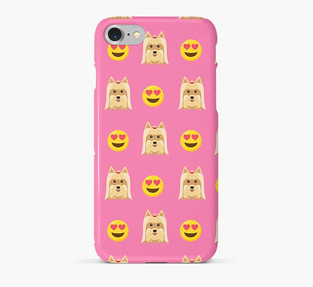 'Heart Eyes' Pattern Phone Case with Yorkshire Terrier Icon