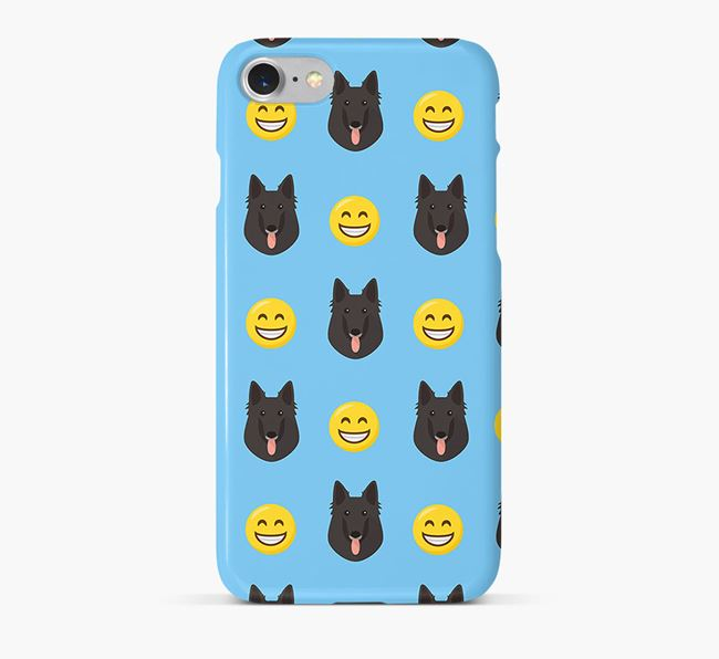 'Smile' Pattern Phone Case with Belgian Groenendael Icon