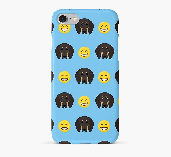 'Smile' Pattern Phone Case with Black and Tan Coonhound Icon