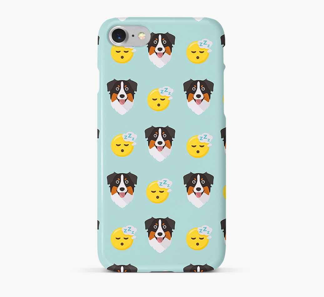 'Tired' Pattern Phone Case with Australian Shepherd Icon