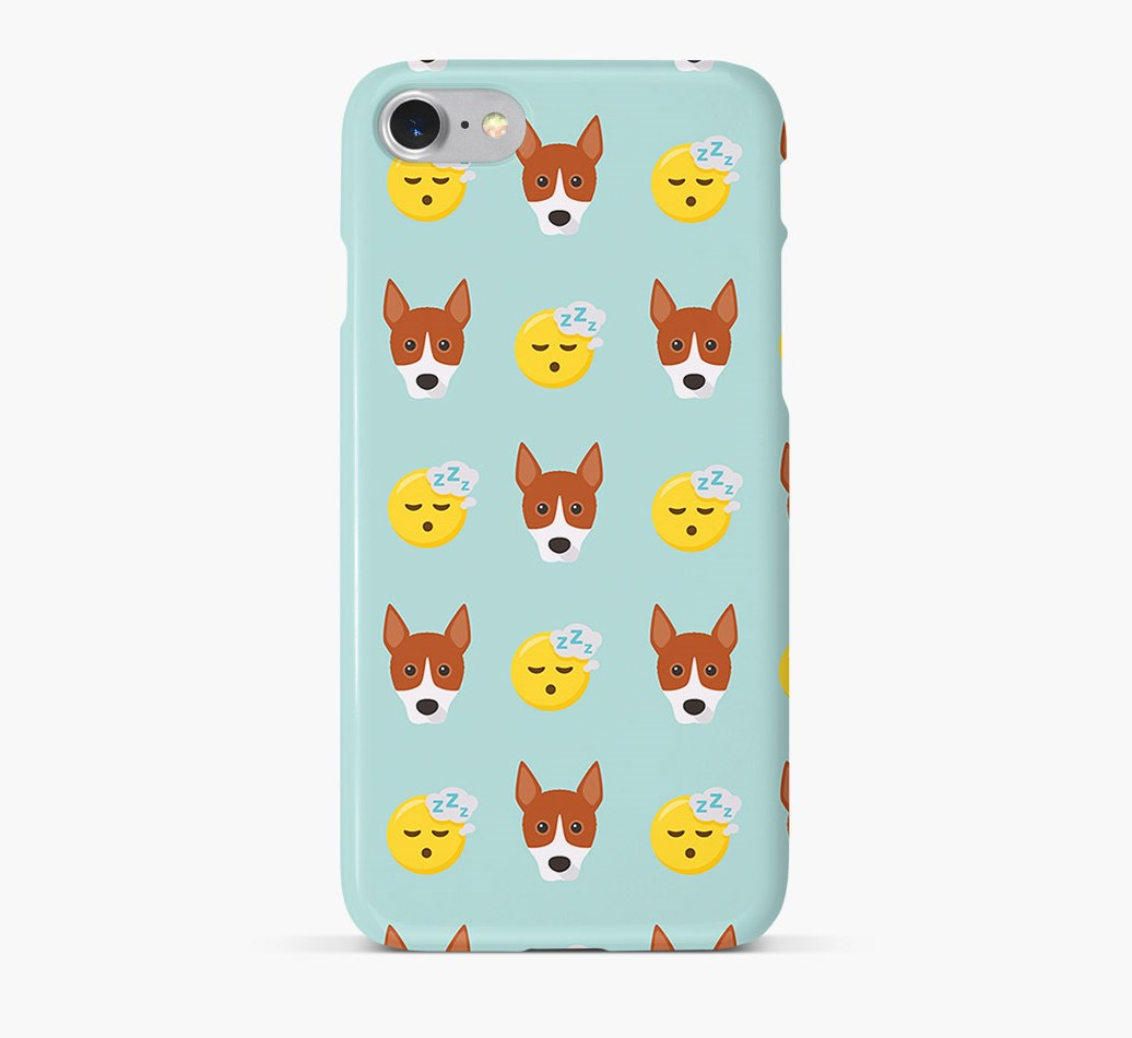 'Tired' Pattern Phone Case with Basenji Icon