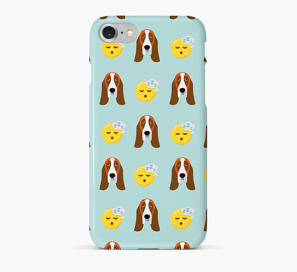 'Tired' Pattern Phone Case with Basset Hound Icon