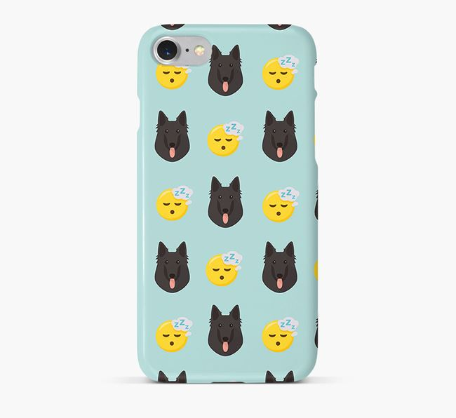 'Tired' Pattern Phone Case with Belgian Groenendael Icon