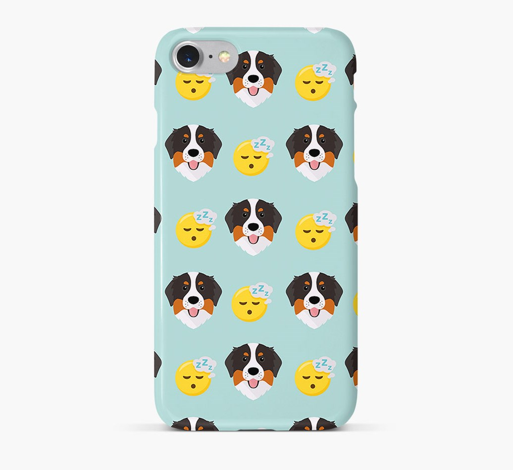 'Tired' Pattern Phone Case with Bernese Mountain Dog Icon