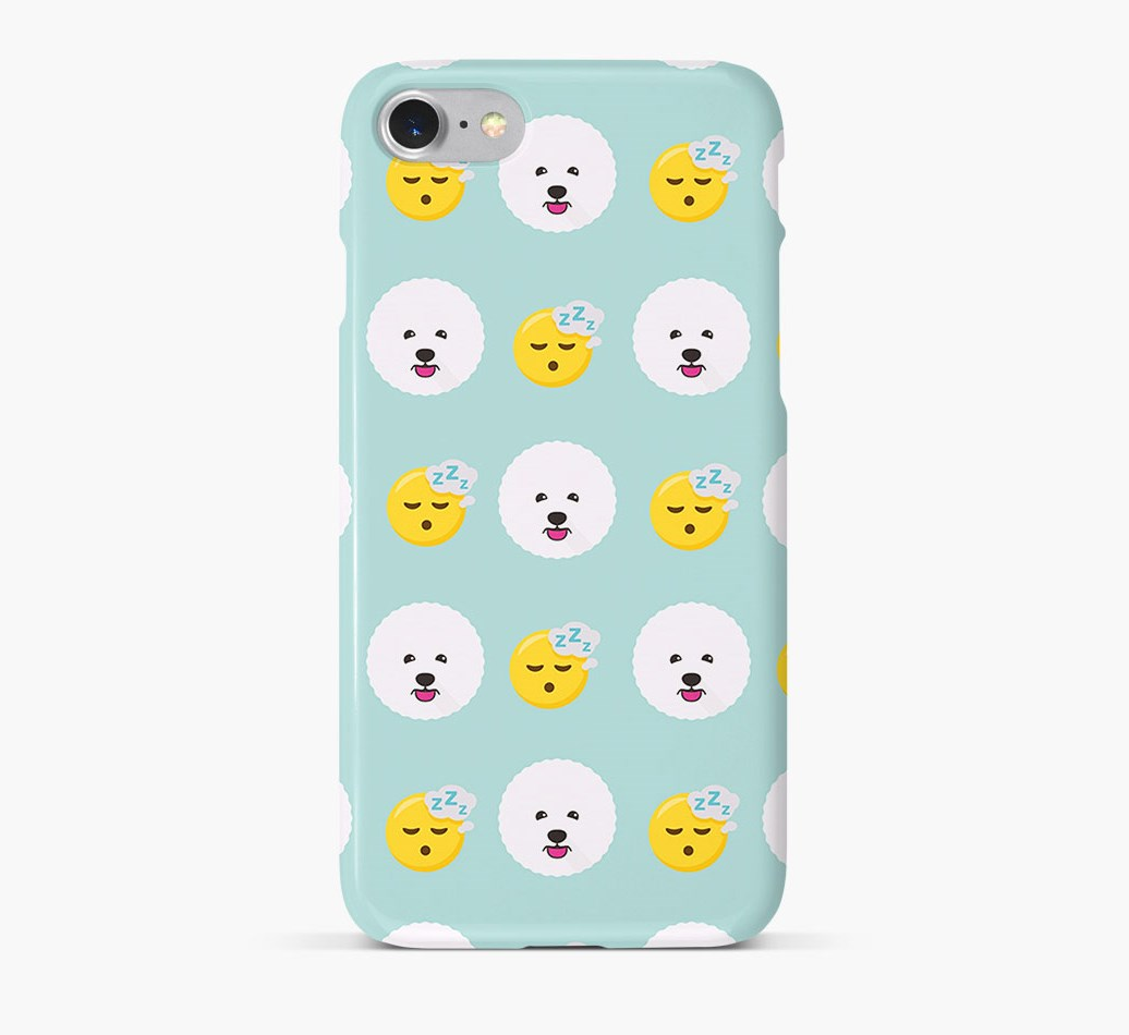 'Tired' Pattern Phone Case with Bichon Frise Icon
