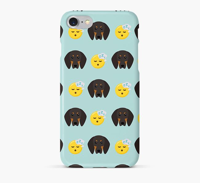 'Tired' Pattern Phone Case with Black and Tan Coonhound Icon