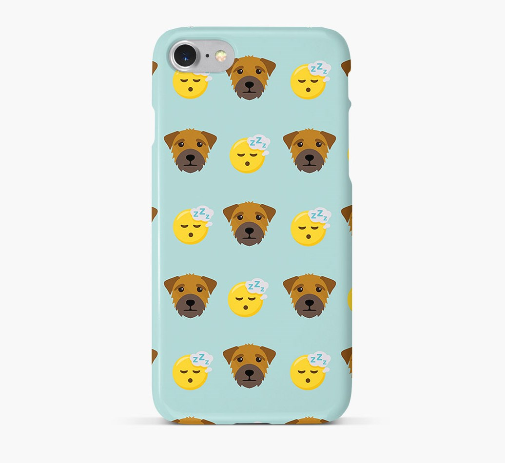 'Tired' Pattern Phone Case with Border Terrier Icon