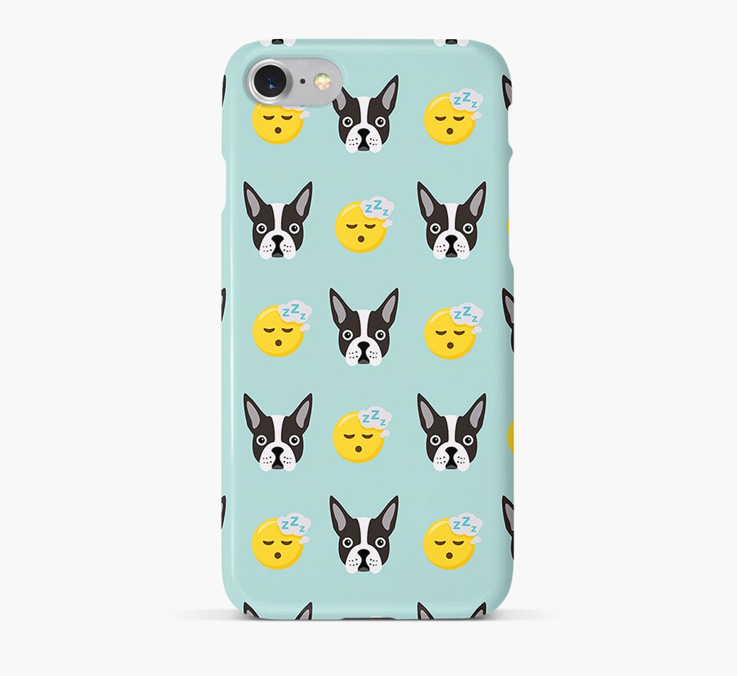 'Tired' Pattern Phone Case with Boston Terrier Icon