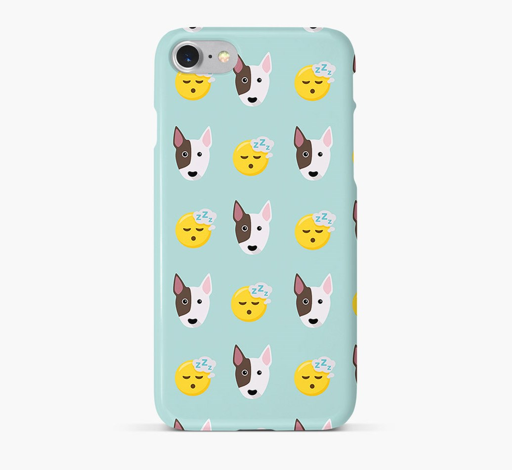 'Tired' Pattern Phone Case with Bull Terrier Icon