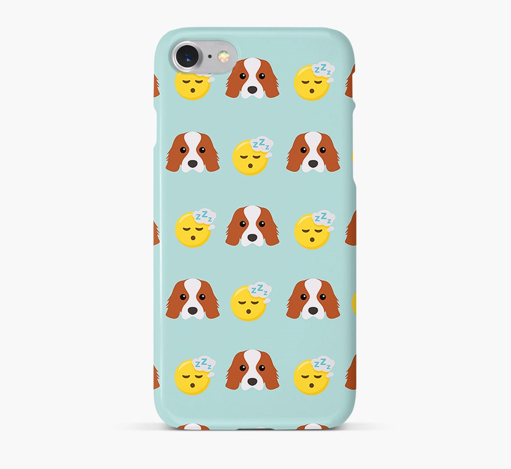 'Tired' Pattern Phone Case with Cavalier King Charles Spaniel Icon