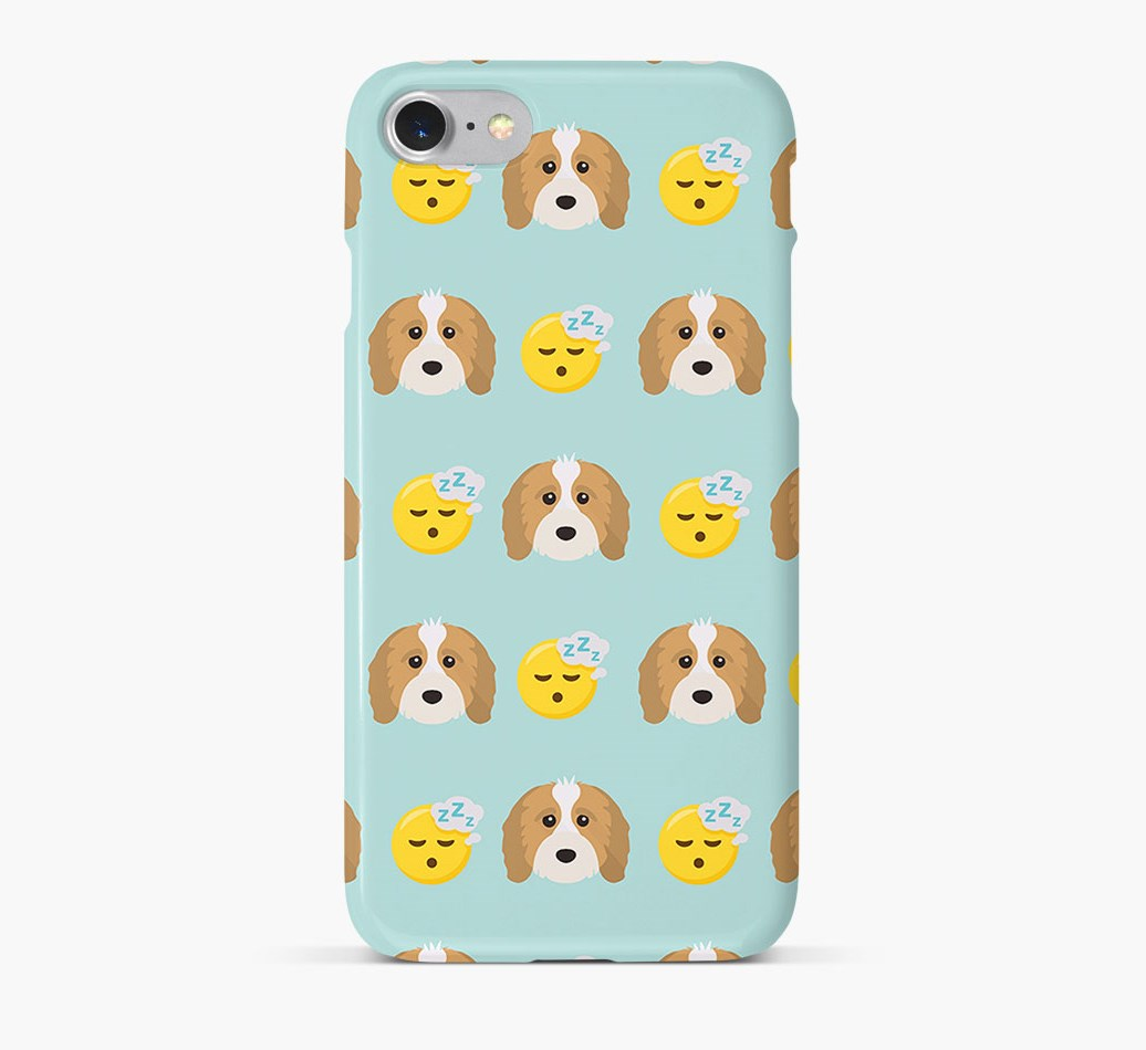 'Tired' Pattern Phone Case with Cavapoo Icon