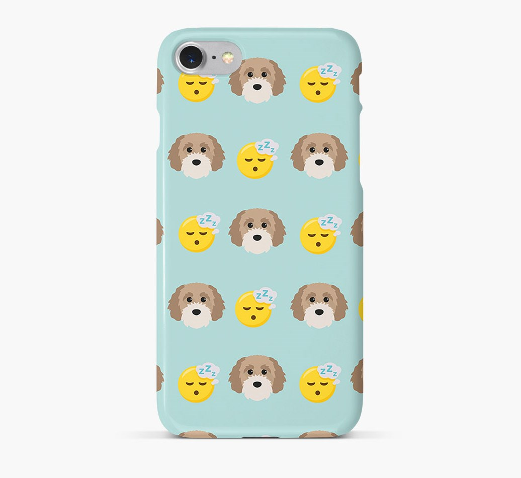 'Tired' Pattern Phone Case with Cavapoochon Icon