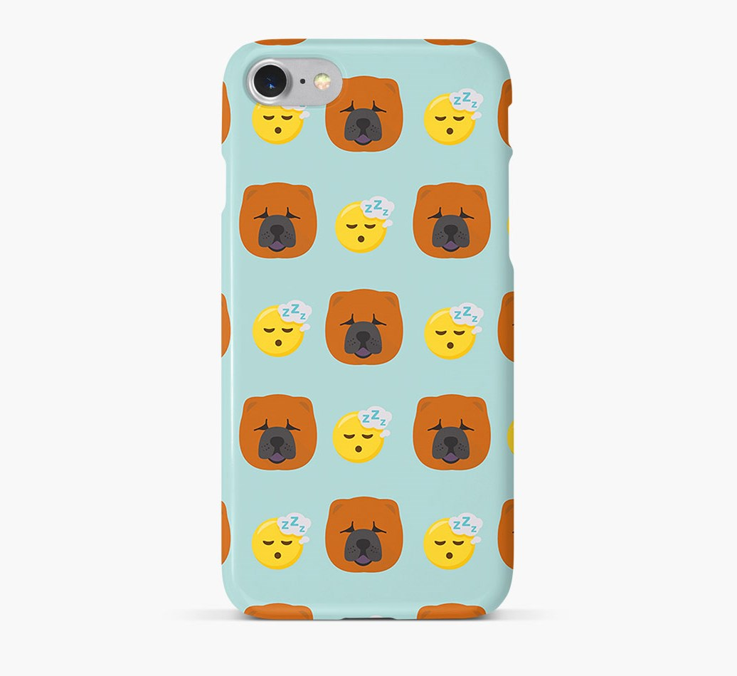 'Tired' Pattern Phone Case with Chow Chow Icon