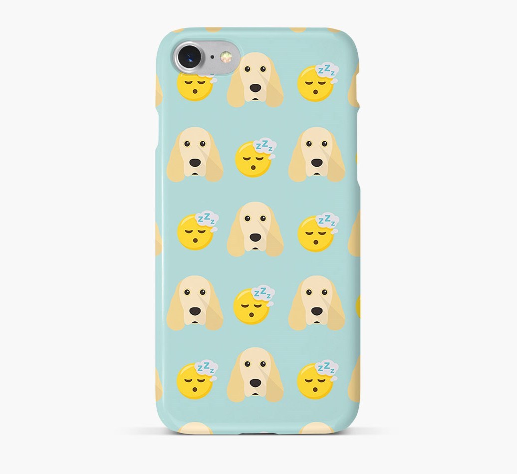 'Tired' Pattern Phone Case with Cocker Spaniel Icon