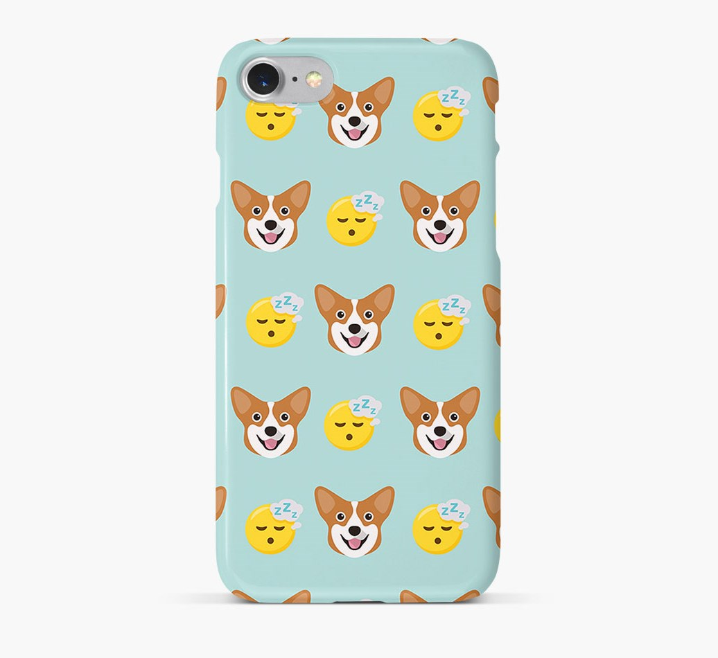'Tired' Pattern Phone Case with Corgi Icon