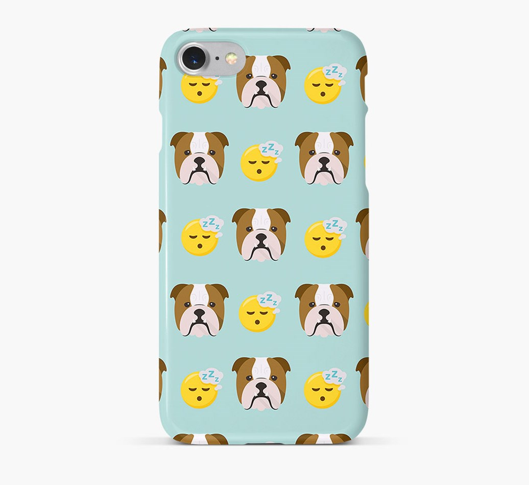 'Tired' Pattern Phone Case with English Bulldog Icon