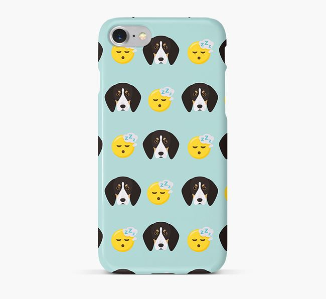 'Tired' Pattern Phone Case with English Coonhound Icon