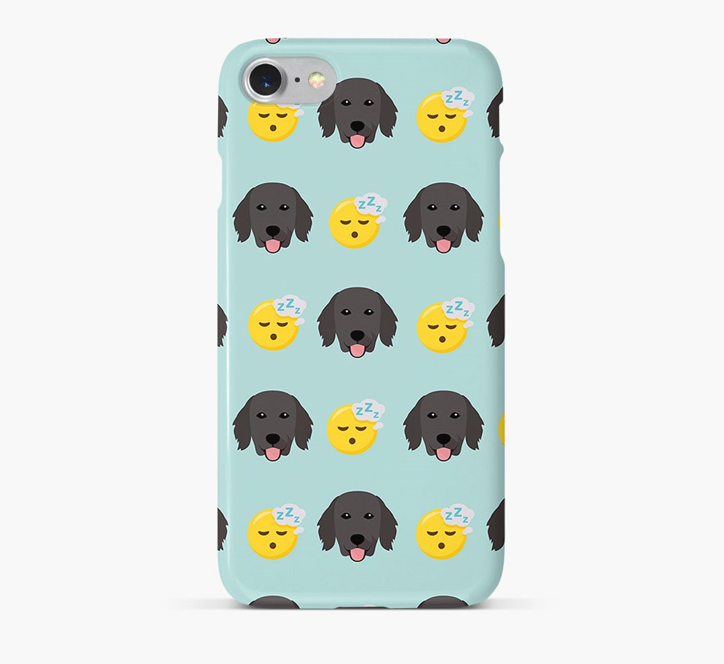 'Tired' Pattern Phone Case with Flat-Coated Retriever Icon