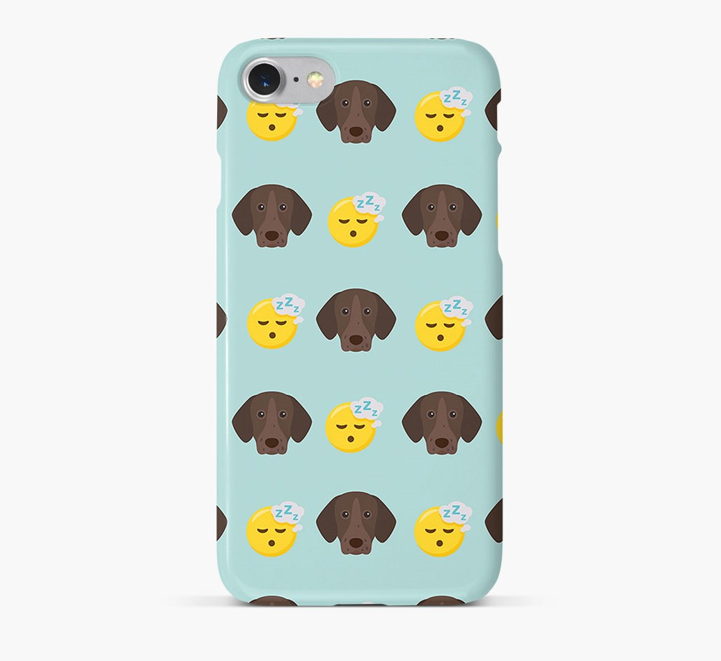 'Tired' Pattern Phone Case with German Shorthaired Pointer Icon