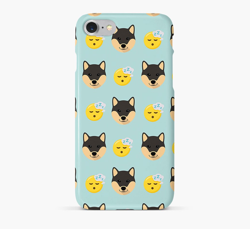 'Tired' Pattern Phone Case with Japanese Shiba Icon