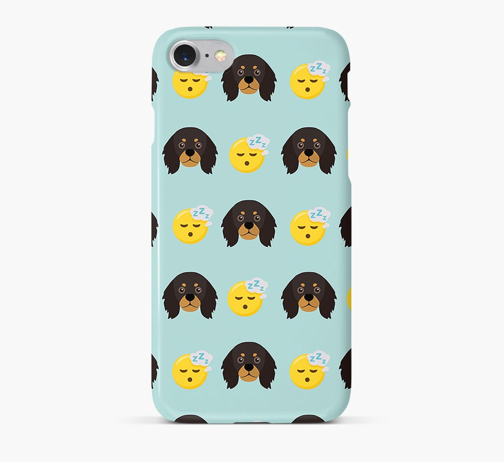 'Tired' Pattern Phone Case with King Charles Spaniel Icon